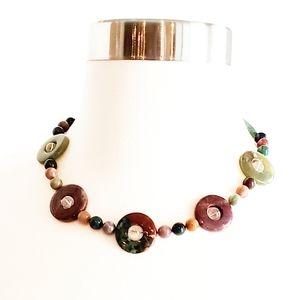 Jade Necklace Authentic Multicolored Circle & Bead